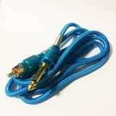 Силиконовый клип-корд в тканевой оплётке RCA (Голубой)