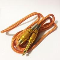 Силиконовый клип-корд в тканевой оплётке RCA (Золотой)