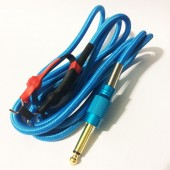 Силиконовый клип-корд в тканевой оплётке (Голубой)
