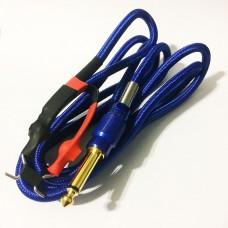 Силиконовый клип-корд в тканевой оплётке (Синий)