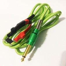 Силиконовый клип-корд в тканевой оплётке (Зелёный)