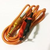 Силиконовый клип-корд в тканевой оплётке (Золотой)