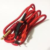 Силиконовый клип-корд в тканевой оплётке (Красный)