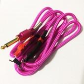 Силиконовый клип-корд в тканевой оплётке (Розовый)