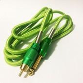 Силиконовый клип-корд в тканевой оплётке RCA (Зелёный)